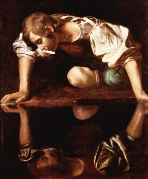 Image result for a depiction of narcissus staring in the lake by caravaggio